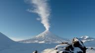 View on erupting Klyuchevskaya Sopka - active volcano of Kamchatka video