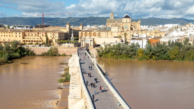 View on Puente Romano bridge from top in Cordoba video