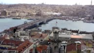 View on the Golden Horn and Galata Bridge in Istanbul video