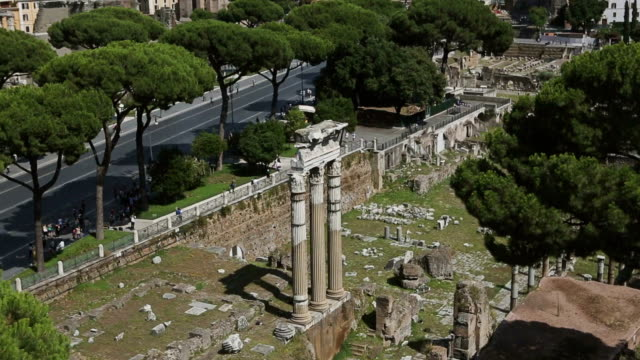 View on the Ruins of Roman Forum and Coliseum video