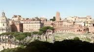 View on the Ruins of Trajan Roman Forum and Coliseum video