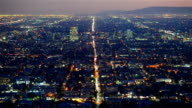 view over downtown Los Angeles from Griffith Observatory at night video