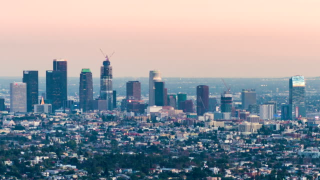 view over downtown Los Angeles video