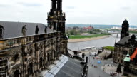 View over old town of Dresden to river Elbe video