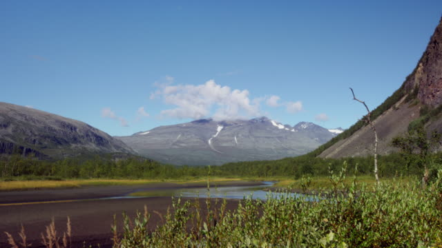 View over Rapadalen delta from the foot of mountain Namasj video