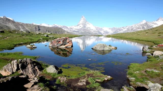 View over the Stellisee Zermatt to the Matterhorn video