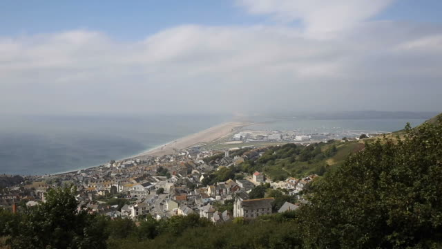 View over Weymouth Portland and Chesil beach Dorset England UK video