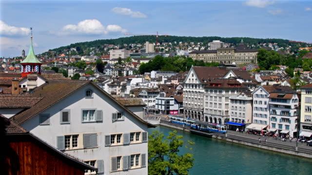 View over Zürich city in Switzerland video