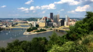 View Pittsburgh skyline between two rivers video
