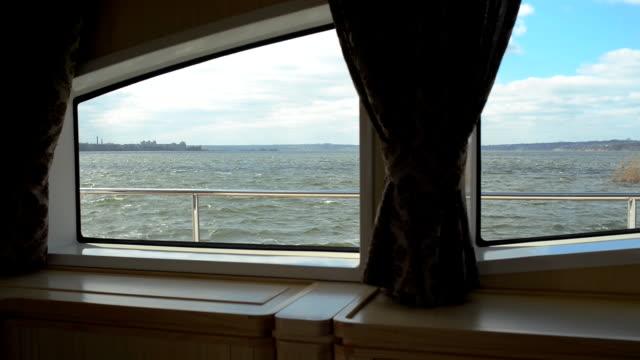 View through the window,illuminator of the yacht video