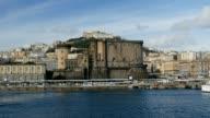 View to Naples harbor city port. Naples, Italy video