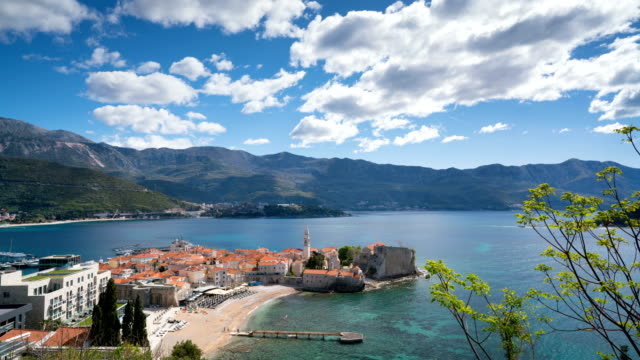 view to the Old Town od Budva in Montenegro video