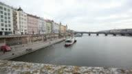 View to Vltava, Prague, Chech Republic, HD Video video