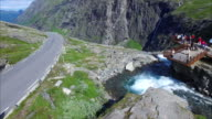 Viewing platform in Trollstigen pass in Norway, aerial view video