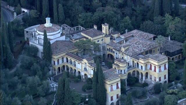 Villa Vittoriale  - Aerial View - Lombardy, Provincia di Brescia, Gardone Riviera, Italy video