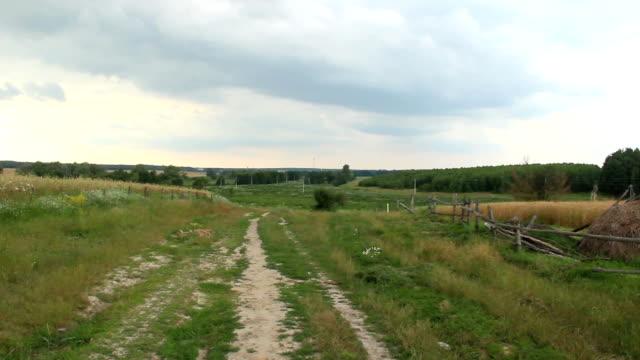 Village countryside scape, live view camera shake, person pov video