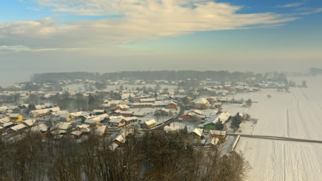 AERIAL Village in the winter video