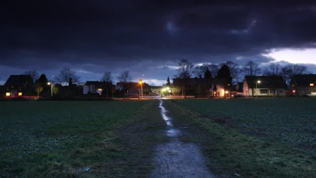 Village in twilight video