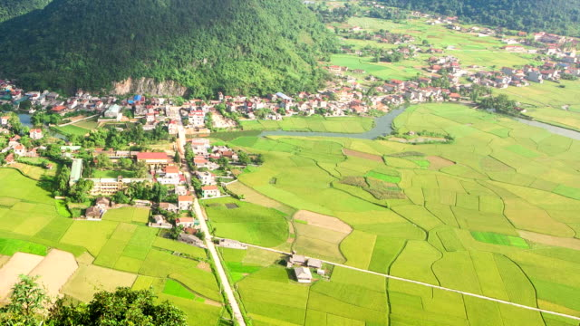village in valley at Bac Son, Long Son, Vietnam video