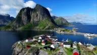 Village on Lofoten islands in Norway from air. video