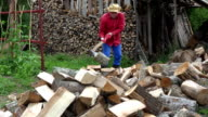 Villager guy prepare organic wood fuel near woodshed for winter season. FullHD video