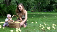 Villager woman in dress and her one year old baby daughter picking apples to wicker basket. FullHD video