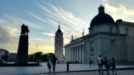 Vilnius cathedral square at evening time lapse. Lithuania video