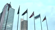 Vilnius. Skyscrapers and Baltic States flags video