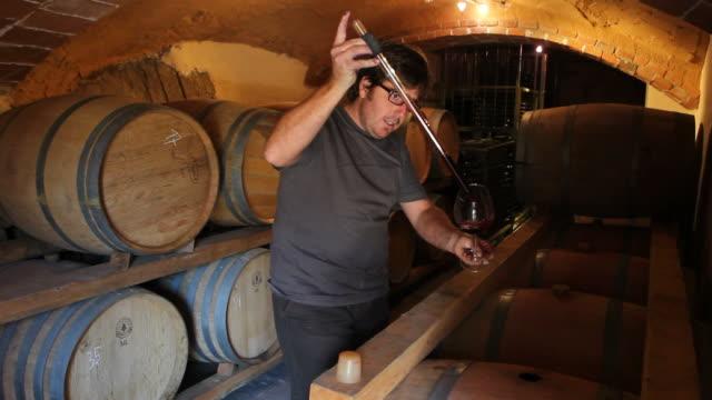 Vineyard owner tasting wine video