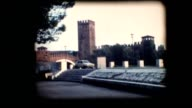 Vintage 8mm. View of tower and bridge in Verona video