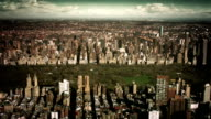 Vintage aerial view of Uptown Manhattan. 2 shots in 1. video