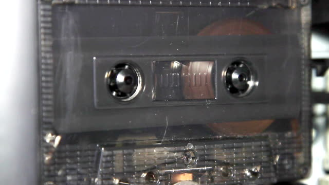 vintage audio cassette tape with a blank white label video