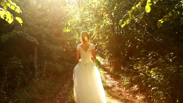 Vintage Bride Dress Woman Forest Nature Beauty Art Background video