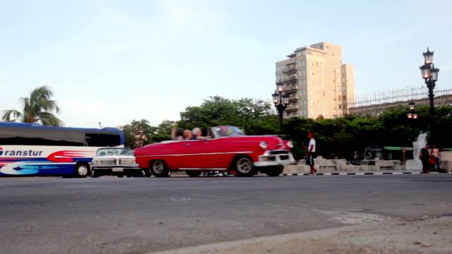 Vintage Cars in convoy in La Havana Cuba video