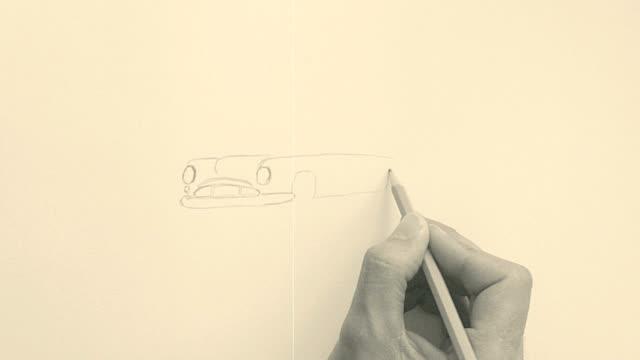 vintage classic car sketch video