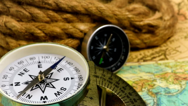 Vintage compass with rope video