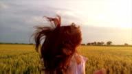 Vintage Dress Woman Slow Motion Wheat Field Running video
