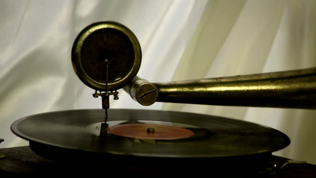 Vintage gramophone plays a record video
