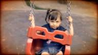 Vintage Old Video - Girl Swinging in The Playground Kindergarten video