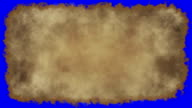 vintage paper burn blue screen video