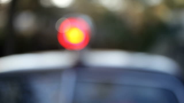 Vintage Police Patrol Car With Blinking Red Light (Video) video