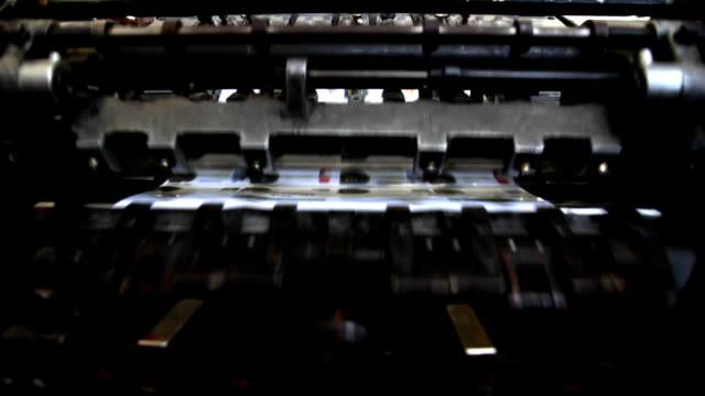 vintage printing machine detail video