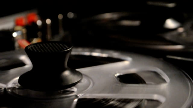vintage reel-to-reel recorder macro video