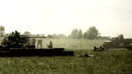 Vintage shots second world war, reconstruction. Soviet, German soldiers video