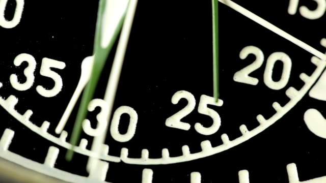 Vintage stopwatch clock face close up. video