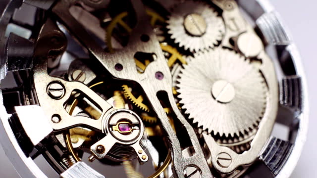 Vintage watch mechanism video