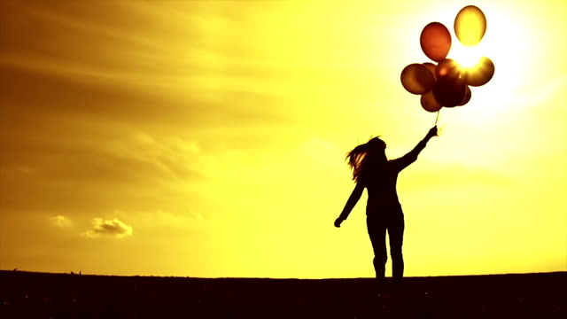 Vintage Woman Running Balloons Meadow Sunset Slow Motion video
