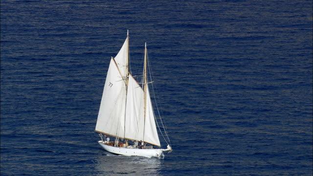 Vintage Yacht Off Monaco  - Aerial View - Provence-Alpes-Côte d'Azur, France video