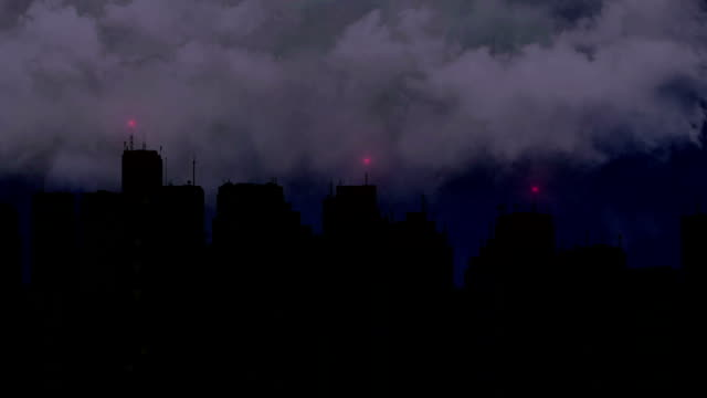 Violent thunderstorm breaks over megalopolis at night, lightning bolt with video