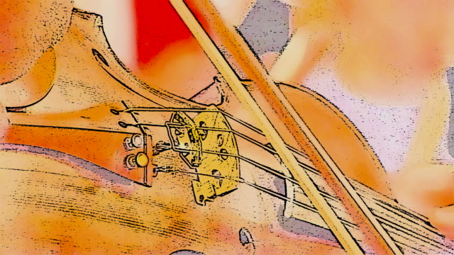 Violin bridge, played with bow - illustration style. video